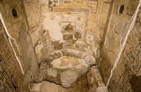 Remains of wall murals inside Domus Aurea in Rome