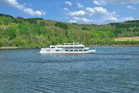 Tourist Boat on Biggesee Reservoir in Sauerland,North Rhine westphalia,Germany