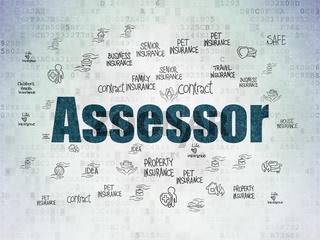 Insurance concept: Assessor on Digital Data Paper background