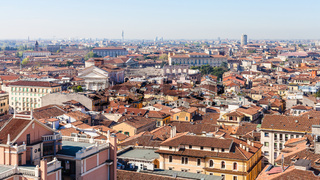 above view of Verona city with Arena