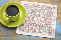 positive word sabstract on napkin