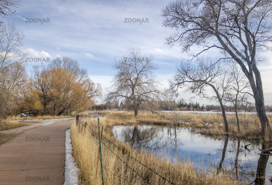 recreational and commuting bike trail along the Poudre River in Fort Collins
