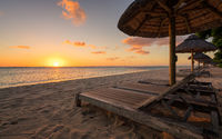 Awesome sunset beach at Mauritius