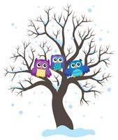 Stylized owls on tree theme image 1