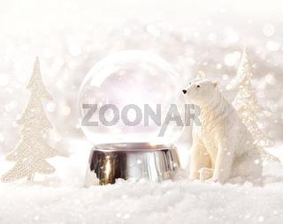 Snow globe in  winter scene