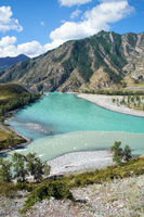Place of the confluence of the rivers Katun and Chuya in Altai mountains