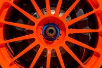 Bright orange OZ Racing alloy detail