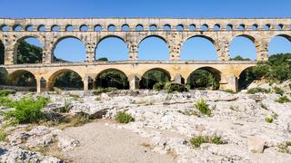 view of ancient Roman aqueduct Pont du Gard