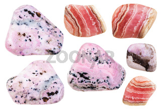 various polished mineral rhodochrosite gemstones
