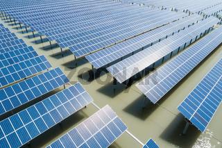aerial view of solar power farms