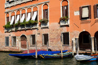 Orange house on the Canal Grande, Venice