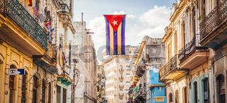 Street in Havana with Cuban Flag