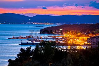 Adriatic town of Pakostane evening view