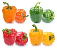 Paprika Paprikas Sammlung Collage bunt frisch Gemüse Freisteller freigestellt isoliert