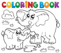 Coloring book cheerful elephants