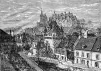 View of Loches, Gate of Cordeliers and Castle, vintage engraving.