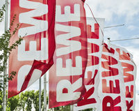 Flags with REWE logo