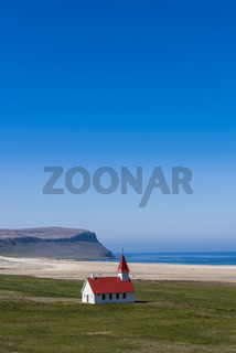 Church at Breidavik with blue sky, Iceland