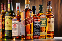 Bottles of global whiskey brands