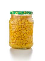 Corn seed in glass jar.