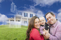 Happy Family with Ghosted House Drawing Behind