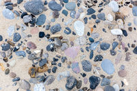 Stones in the sand on danish beach