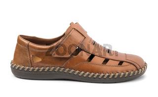 Single men's brown leather sandal
