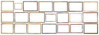 vintage narrow wooden picture frames isolated