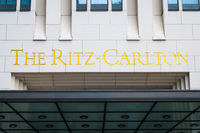 The Ritz Carlton logo on the  building exterior of the Ritz Carlton Hotel in Berlin