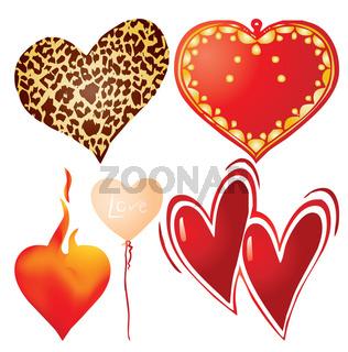 Set of valentine`s hearts, part 9