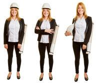 Frau als Architektin in unterschiedlichen Posen
