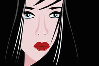 Vector portrait geisha