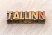 Tallinn word abstract in wood type