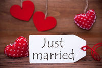 Read Hearts, Label, Text Just Married