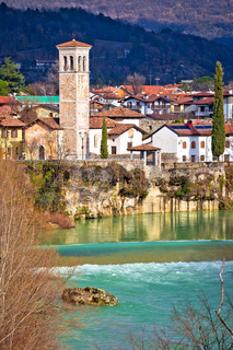 Italian heritage in Cividale del Friuli Natisone river canyon and ancient skyline vertical view