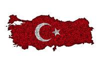 Karte und Fahne der Türkei auf Mohn - Map and flag of Turkey on poppy seeds