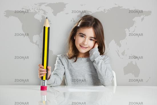 Little girl in the school