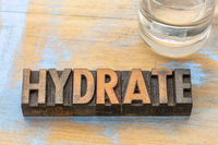 hydrate word abstract in wood type
