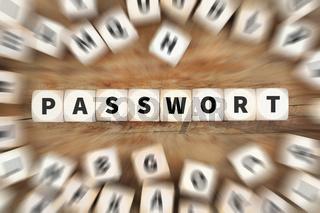 Passwort Computer Sicherheit Internet Schutz Datensicherheit Würfel Business Konzept