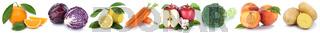 Obst und Gemüse Früchte Apfel Orange Karotten Möhren Pfirsich frische Freisteller freigestellt isoliert in einer Reihe