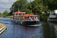 Excursion boat on the Caledonian Canal near Inverness, Scotland, Great Britain