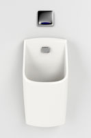 Urinal on gray wall