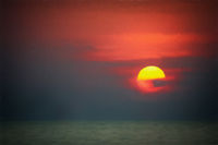Spectacular sunset over the coast of Thailand