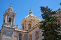 Dome and bell tower of the Collegiate Church of St Paul, Rabat, Malta