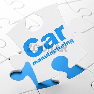 Manufacuring concept: Car Manufacturing on puzzle background
