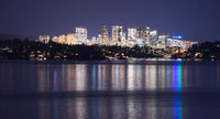 Light Reflection Water Bellevue Washington Downtown City Skyline