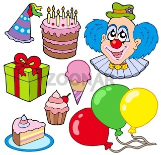 Collection of party images - isolated illustration.