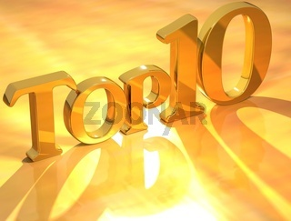 3D Top 10 Gold Text on yellow background