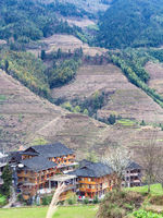 view of houses in village in terraced field