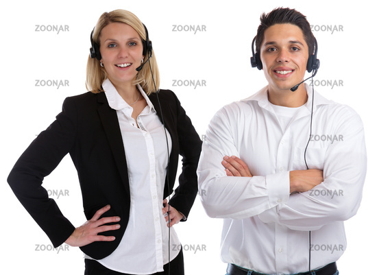 Call Center Agent Team lachen Sekretärin Headset Telefon Business Freisteller